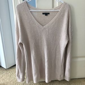 American Eagle Tan Sweater with braid down sleeves